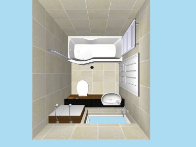 Compact Bathroom Plan View In 3D