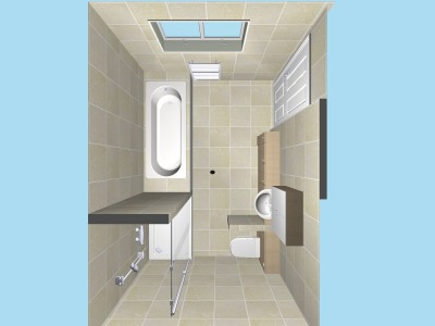 Large bathroom plan view in 3D