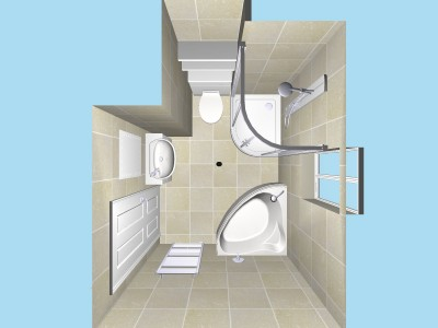 Main Bathroom Plan view in 3D