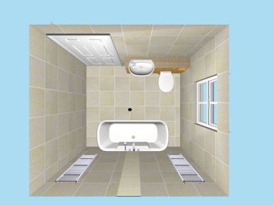 Roll top bath plan in 3D