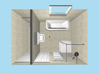 Shower Room and adjoining Toilet in 3D