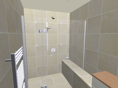 Wet room elevation view in 3D