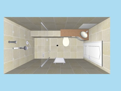 Wet room plan view in 3D